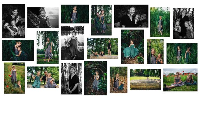 fotokoláž z rodinného focení v přírodě v